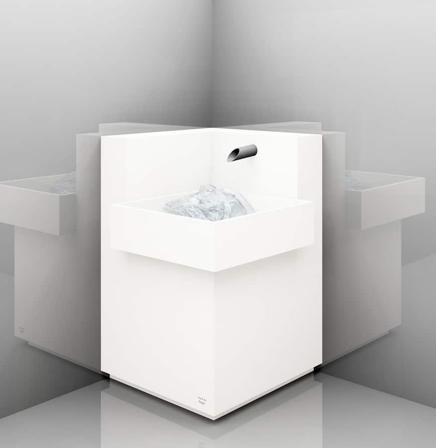 Eisbrunnen, Ecklösung mit großem, überstehendem Becken, Korpus weiß, Sockel weiß, Typ Stand - Eck - UE - 70 - 1