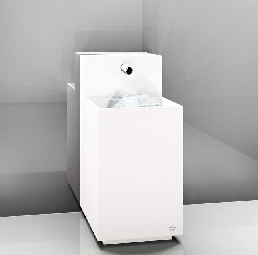 Eisbrunnen mit bündigem Becken, Korpus weiß, Sockel weiß, Typ Stand - 000 - B - 70 - 1